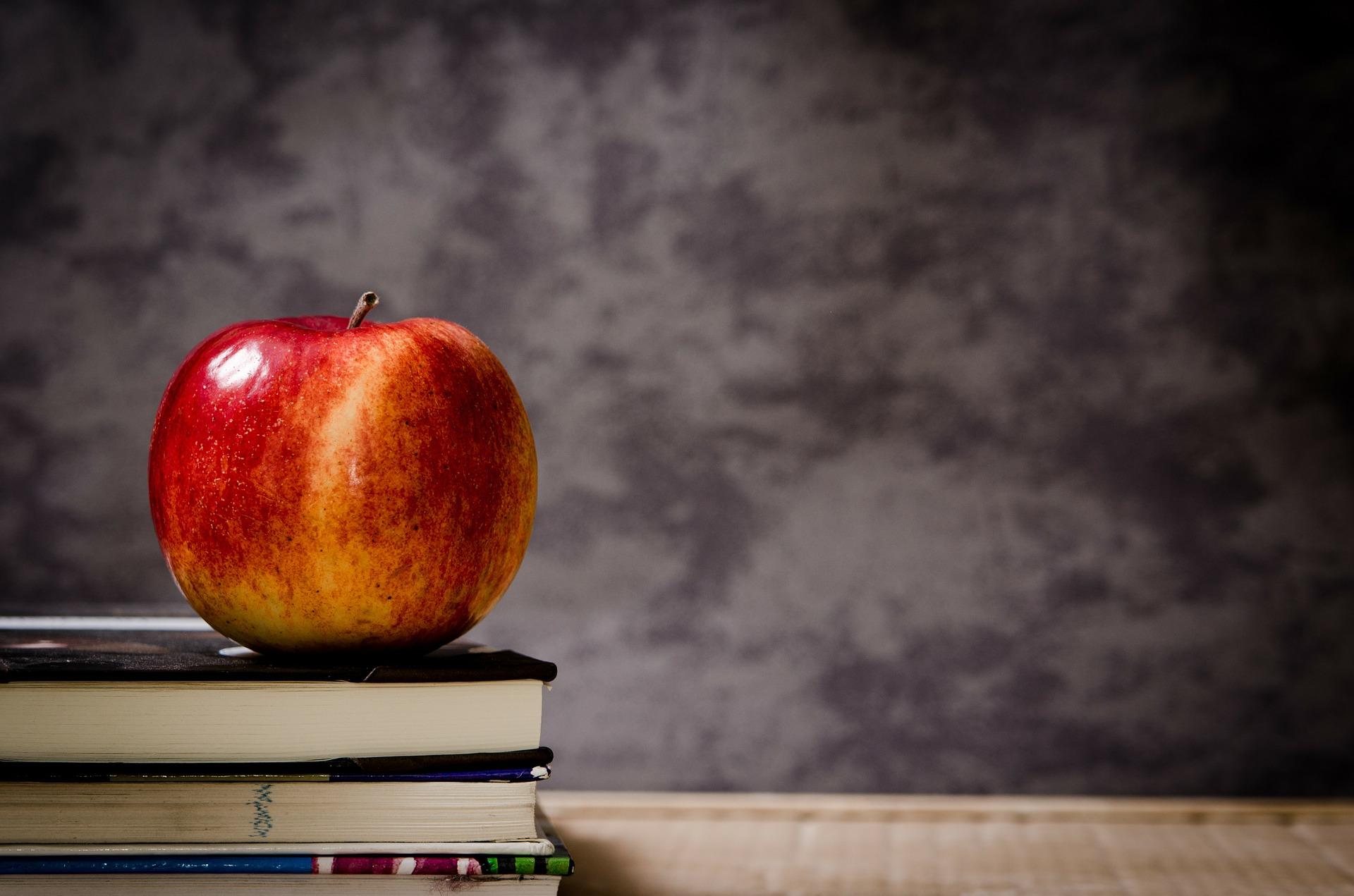 本の上にのったりんご