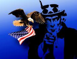 アメリカの国旗をもった鳥と変なおじさん