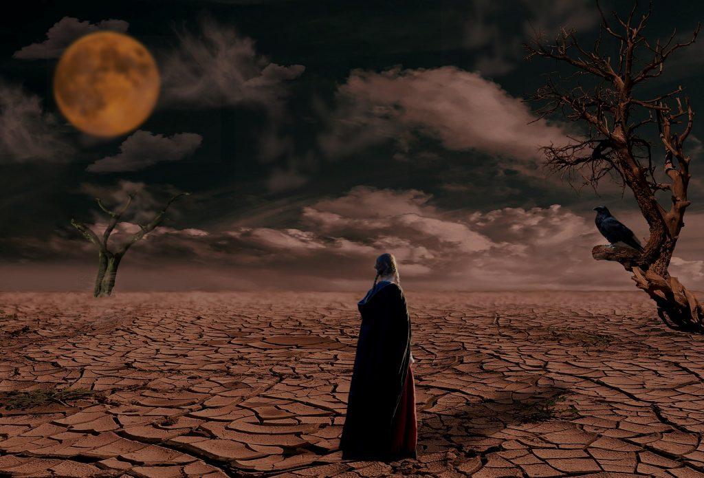 荒れ果てた地と女性の後ろ姿
