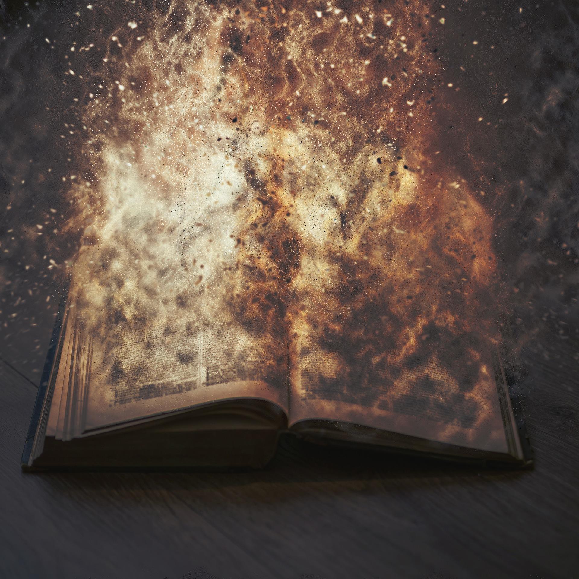 本の上で爆発