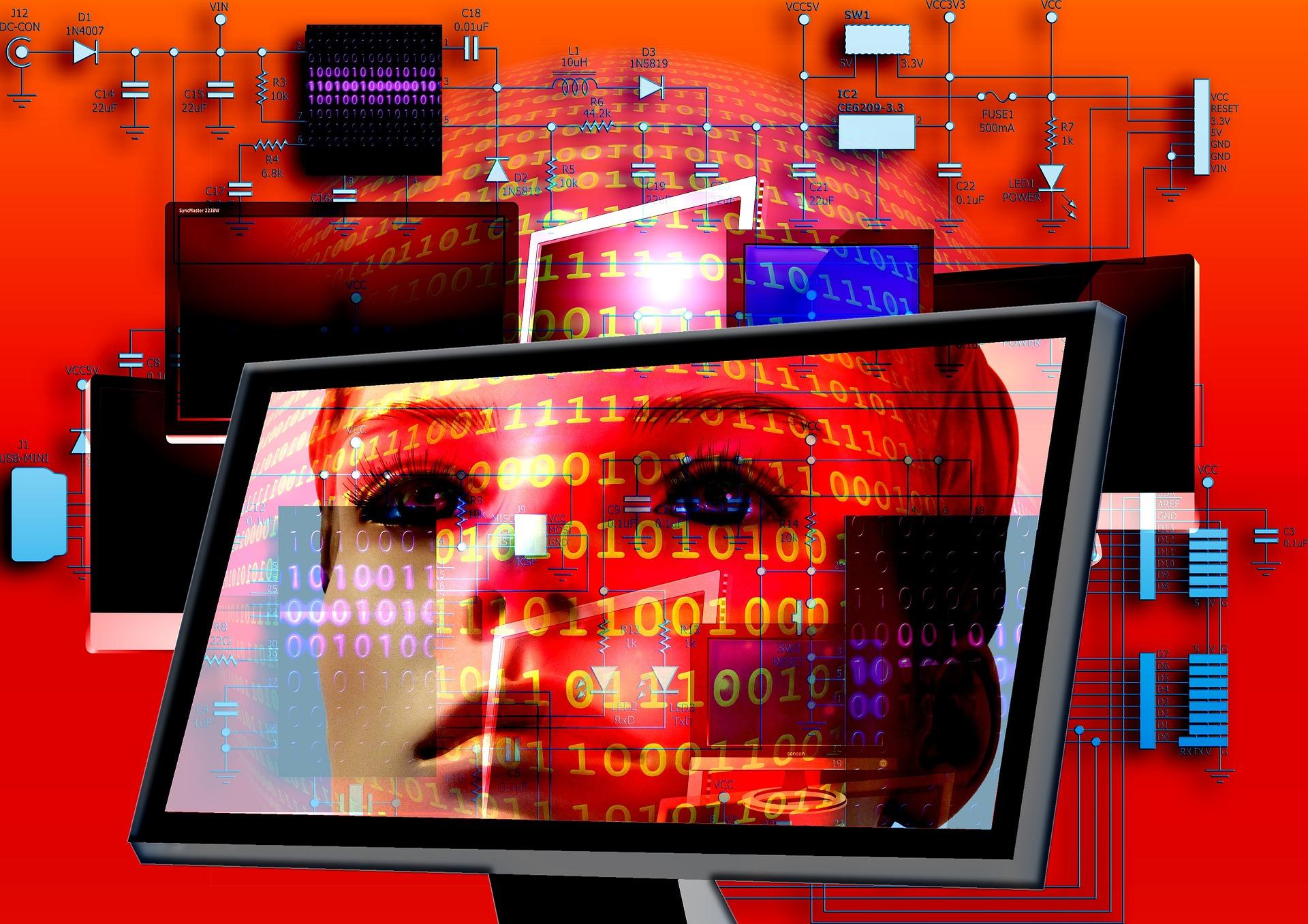 コンピューターに人の顔が写ってるね